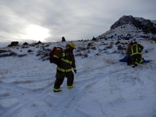 Field Training 2/2019. Simulated: fall from horse in back country with broken leg and arm